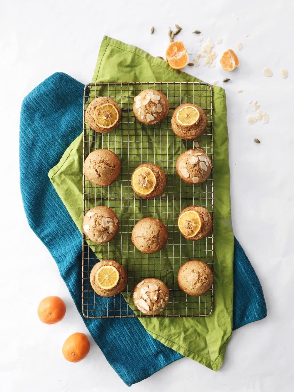 Muffins santé aux clémentines, aux amandes et à la cardamome